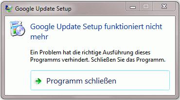 Google Update Setup funktioniert nicht mehr